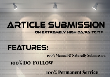 Provide 25 unique Article Submission with DA 30 plus unique Domain