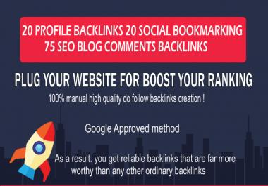 I will do 20 profile backlinks or 20 edu/gov backlinks and 75 blog comments on DA 20 to 90 websites