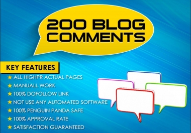 I will create 200 dofollow backlinks blog comments