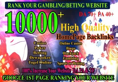 10000+ BACKLINKS Google 1st Page Ranking SEO BEST Service CASINO/Gambling/Poker