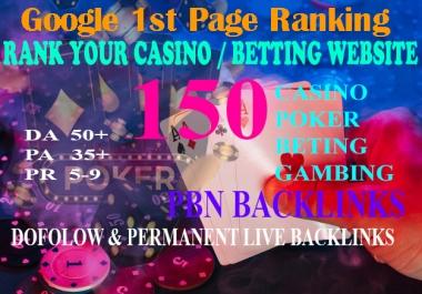 150 High Quality Homepage Backlink Casino, Poker, Gambling BETTING DA50+ PA 35+ 100% DOFOLLOW
