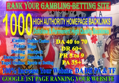1000 Casino Backlinks for Gambling Poker Sports Betting Online Casino sites DA70 DR60+