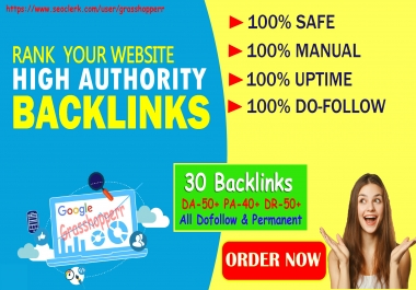 DA-50+ PA-40+ PR6+ 30 Homepage web2.0 Backlink Permanent & Dofollow With unique website