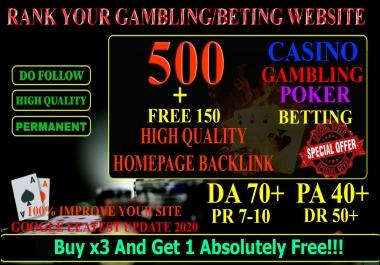 500 High Quality Homepage Backlink Casino, Poker, Gambling BETTING DA70+ PA 40+ 100% DOFOLLOW