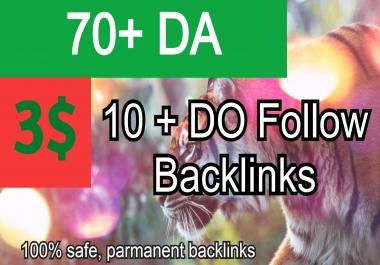 70+ DA || 10+ Dofollow highpowerful TIGER Power Backlinks. GET IT NOW!!!