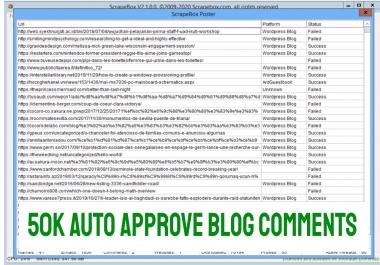 Scrapebox Blast 50,000 Live SEO Blog Comments Backlinks