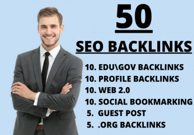 Increase your website ranking very fast with our 50 Dofollow seo backlinks on high DA PA sites