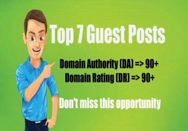 Publish 7 Guest Posts on DA90, DR90 Blogs