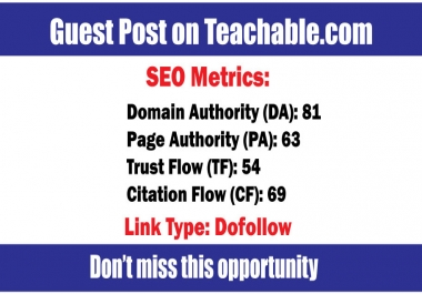 Write and Publish Guest Posts on Teachable DA81 - DoFoIIow Links