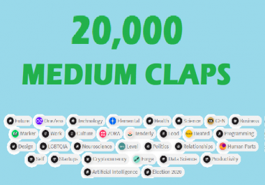 Promote amazing 20,000 medium article claps