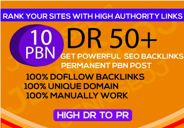 I will 10 PBN DR 50+ dofollow permanent homepage pbn backlinks