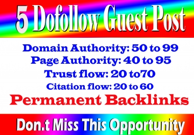 Write Publish 5 Dofoll0w Guest Post On High Traffic And High DA 79 plus Sites