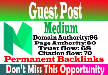Write publish a guest post Medium, medium. com DA 96 With index guarantee Within 6 hours