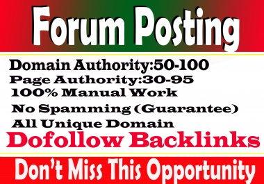 Manually 25 High Authority & Most Trusted Forum Posting Links from High DA