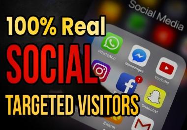 Drive real social media traffic visitors (60K visitors)