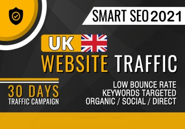 Drive UK traffic targeted and low bounce rate (30K-45K visitors)