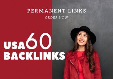 I will create 60 manual SEO trusted USA backlinks