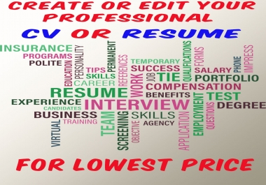 i will create or edit professional CV or RESUME