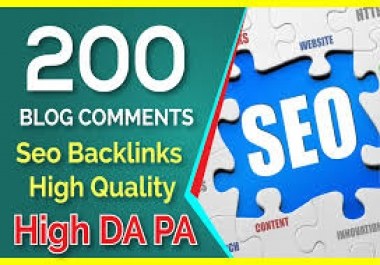 200 Blog Comments Seo Backlinks On High DA PA for $3