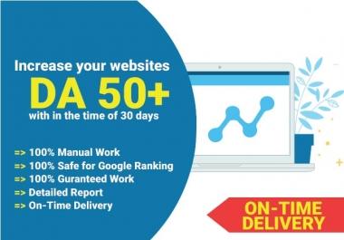 Increase your website domain authority da to 50 plus Guaranteed