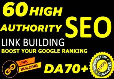 I will do 60 High DA 80+ Manual link building SEO backlinks service