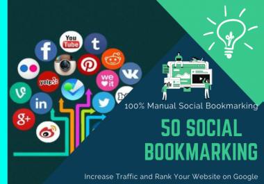 I will create 50 social bookmarking backlinks for website ranking on Google