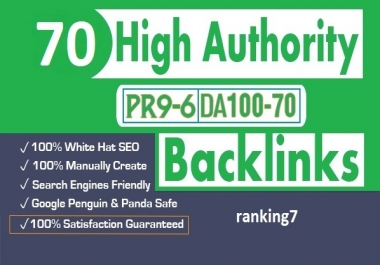 70 SEO backlinks white hat manual link building service for google top ranking