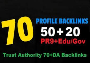 70 Backlinks 50 PR9 +20 EDU/GOV 80+ DA High Quality SEO Permanent Links to rank first