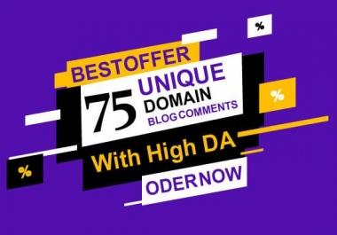I will create 75 unique domain dofollow blogcomment backlinks