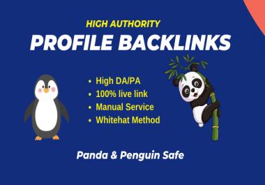 Manually 50 High DA 80+ Profile Backlinks permanently for SEO Link building