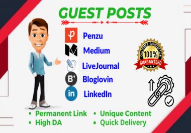 3 Unique Guest posts on Medium, LiveJournal & LinkedIn DA 80+ blogs SEO backlinks permanently
