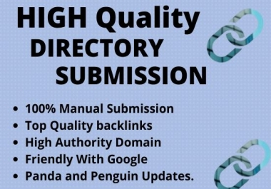 I will give 50 web Directory Submission backlinks Manually