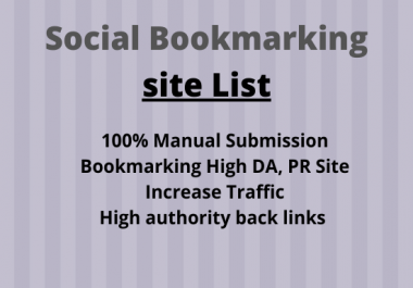 I will build Manually 50 Social Bookmarking Submission Backlinks