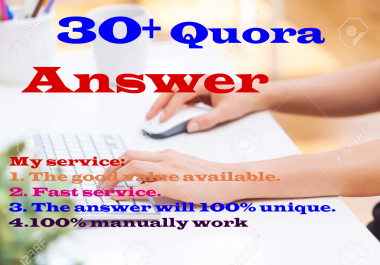 I will provide 30+ Quora answers with your link or website with