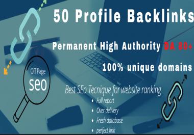 I will do 50 Profile backlinks permanent high Authority PR & DA 80+