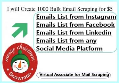 I will Create 1500 Bulk Email Scraping