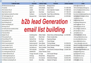 I will do b2b lead generation and prospect email list building