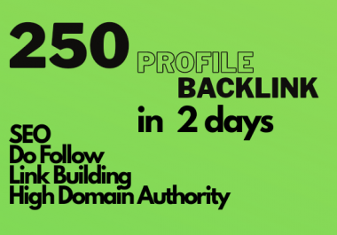 Manually create 250 Profile High Quality DA/PA Google Dominating BACKLINKS