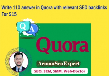 Write 110 Answer in Quora with Relevant SEO backlinks