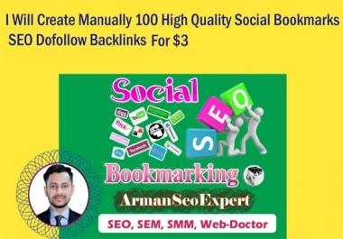 I Will Create Manually 100 High Quality Social Bookmarks SEO Dofollow Backlinks