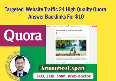 Targeted Website Traffic 24 High Quality Quora Answer Backlinks