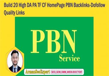 Build 20 High DA PA TF CF HomePage PBN Backlinks-Dofollow Quality Links