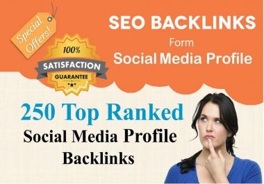 I will create 250 High Quality DA social media profile Backlinks