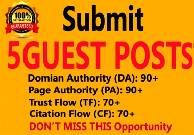 I will do Write And Publish 5 Guest Posts on High Authority websites: DA91+, PA90+