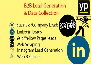 I will do b2b lead generation, b2b linkedin lead generation, data entry, web research