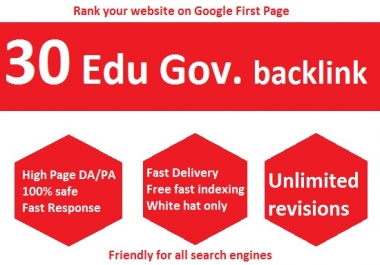 Boost your Website Ranking with 30 Live Edu Gov High authority Backlinks