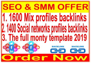 Hot Ultimate SEO 3 TIER - 1600 MiX profiles & 1400 Social networks & The full monty template 2020