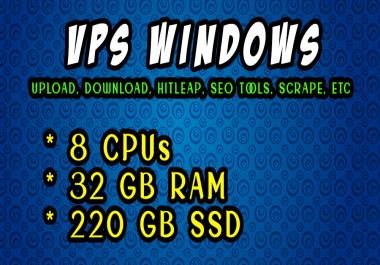 BIG AND CHEAP- VPS Windows - Linux 32 GB RAM 8 CORE CPUs 220 GB SSD