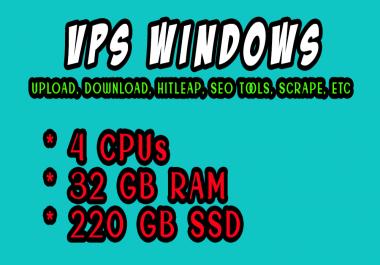 Best Seller - Windows VPS RDP 32 GB RAM 4 CORE CPUs 220 GB SSD