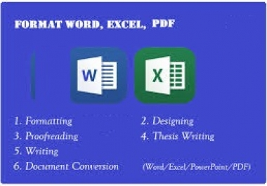 I will make word and excel formatting data sheet